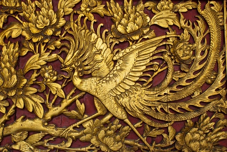 chinese phoenix: Old phenix golden plate, can be use for background, religion, life, and vilitality concepts