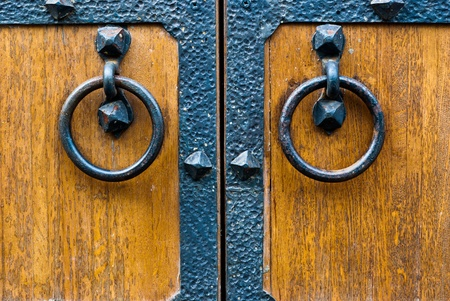 Closeup of wooden vintage door with metal door handle, old medival style taken in Moscow, Russia Stock Photo - 11308919