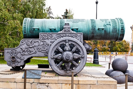 Full shot of russian tsar cannon taken during winter season on a cloudy day
