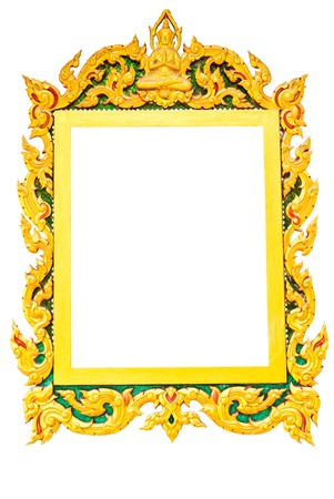 Old Thai picture frame in white background