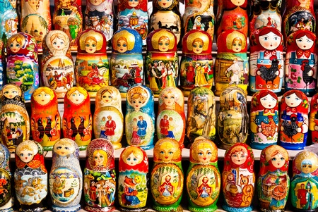 Colorful Russian dolls on display