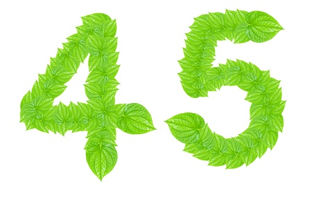 Number made from green leafs with number 4 to 5
