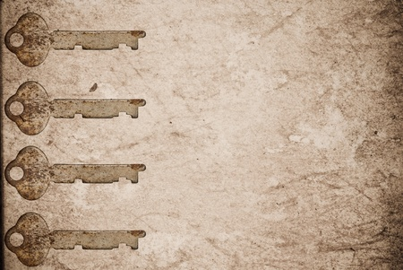 Rusty keys on old paper background with blended layers