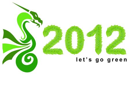 going green: 2012 - year of the dragon, lets go green in 2012 concept, can be use for going green concept in 2012 made from green leafs