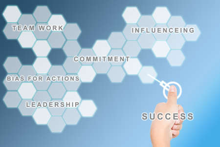 activate: Hand pressing a success button background and its activate comment business elements for successful business. Stock Photo