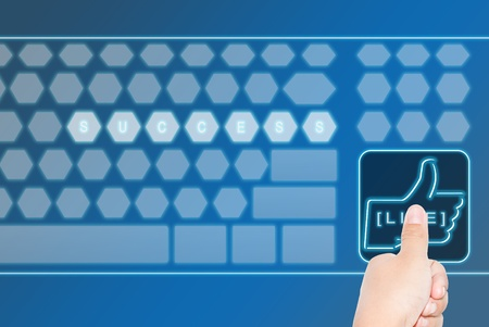 Hand pressing a large LIKE virtual keyboard botton, can be use for various business and background related concepts. Stock Photo - 12135901