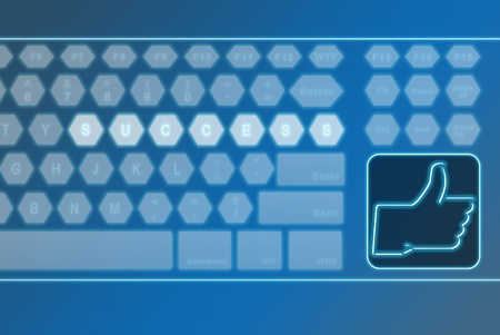 Virtual futuristic keyboard with LIKE button with the word success on the keyboard, can be use for various social media, business, finance, background concept Stock Photo - 12135900
