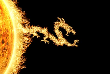 winged dragon: Fire dragon from the Sun heading towards the right, described the solar storm and solar effect. Can be use for background and prints out. Stock Photo