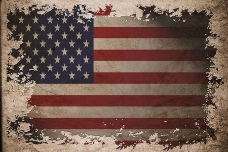 US flag on old vintage paper, can be use for background design and vintage related concept. Also American Independence Day. photo