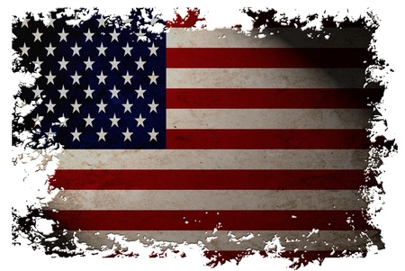 US flag on old vintage paper in isolated white background, can be use for background design and vintage related concept. Also American Independence Day. Stock fotó