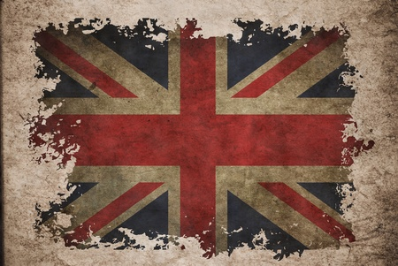 UK flag on old vintage paper, can be use for background design and vintage related concept. photo