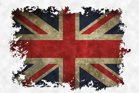 UK flag on old vintage paper in isolated white background, can be use for background design and vintage related concept. photo