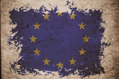 EU flag on old vintage paper, can be use for background design and vintage related concept. photo
