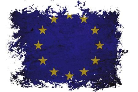Drapeau de l'UE sur du papier vieux millésime en arrière-plan blanc isolé, peut être utilisé pour la conception d'arrière-plan et le millésime concept connexe. Banque d'images