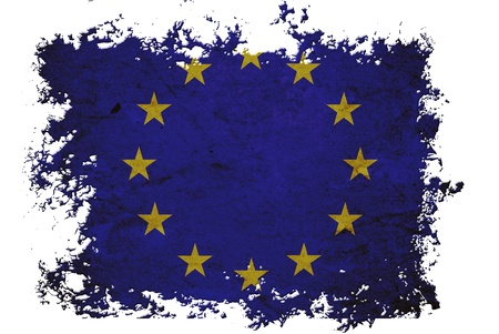 EU flag on old vintage paper in isolated white background, can be use for background design and vintage related concept. photo
