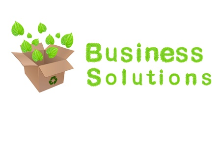 Green business solutions concept design with green leaf flying out of recycle package box with business solutions wording.