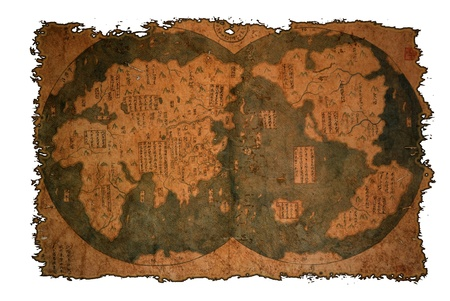 Old Chinese world map on vintage burned paper background.