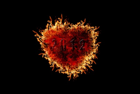 out of use: Burning heart with flame effect and black isolated background, can be use for various love related concepts, design and print out.