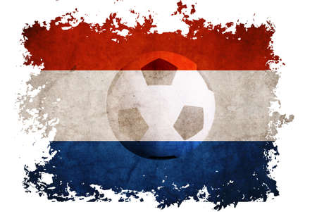 Netherlands rip flag with football background for Euro 2012 on vintage old paper background photo