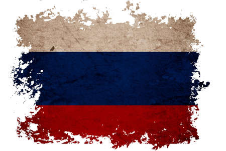Russia flag on old vintage paper in isolated white background, can be use for background design and vintage related concept. Stock Photo - 12649125