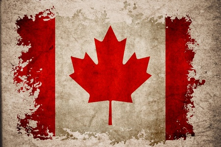 Canada flag on old vintage paper, can be use for background design and vintage related concept.