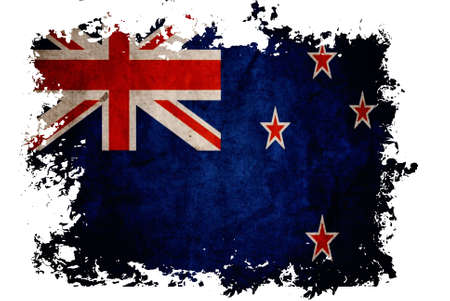 flag of new zealand: New Zealand flag on old vintage paper in isolated white background, can be use for background design and vintage related concept.
