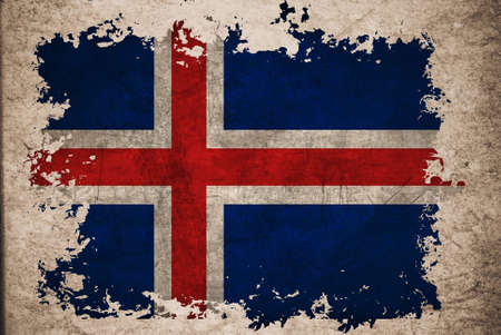 Iceland flag on old vintage paper, can be use for background design and vintage related concept. Stock Photo - 12649473