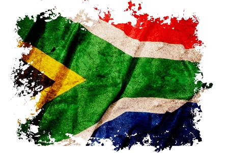 South Africa flag on old vintage paper, can be use for background design and vintage related concept. Also American Independence Day. photo