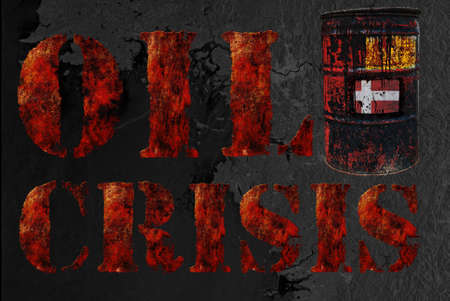 Global economic oil crisis with vintage rusty oil drum and grudge text background. Suitable for all oil crisis economic business concept, logo, icon design. With Denmark flag. Stock Photo - 12649627