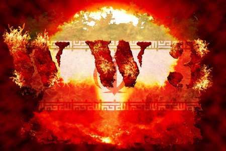 hydrogen bomb: World war 3 nuclear background, a sensitive world issue, useful for various icon, banner, background, global economy conceptual design. Stock Photo