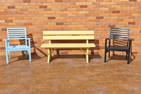 Colorful wooden chairs on various background, can be use for background or prints