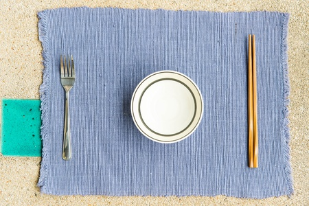 General dinner and lunch set with chop stick, can be use for various foods related concept design and background. photo