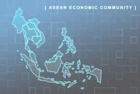 asean: Modern map of South East Asia countries that will be member of AEC with each country flag symbols in background