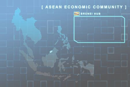 seaa: Modern map of South East Asia countries that will be member of AEC with Brunei flag symbol in background