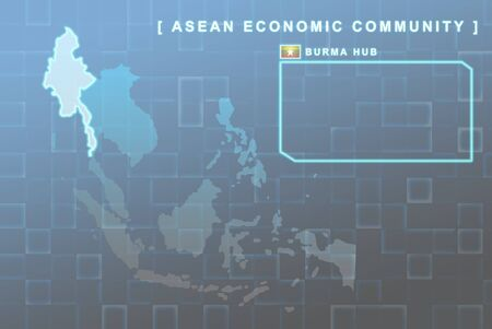 Modern map of South East Asia countries that will be member of AEC with Burma flag symbol in background Stock Photo - 16288382