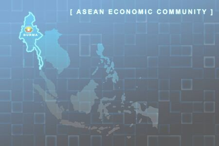 Modern map of South East Asia countries that will be member of AEC with Burma flag symbol in background Stock Photo - 16288320