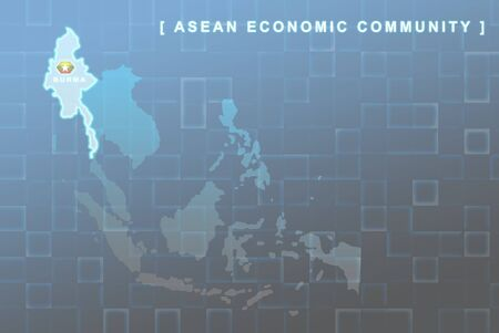 Modern map of South East Asia countries that will be member of AEC with Burma flag symbol in background Stock Photo - 16288287