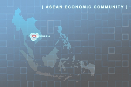 Modern map of South East Asia countries that will be member of AEC with Cambodia flag symbol in background Stock Photo - 16288130