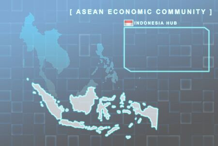 Modern map of South East Asia countries that will be member of AEC with Indonesia flag symbol in background Stock Photo - 16288486