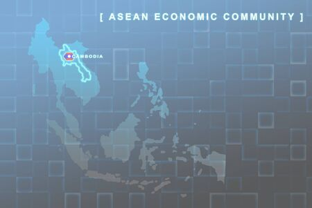 Modern map of South East Asia countries that will be member of AEC with Laos flag symbol in background Stock Photo - 16288282