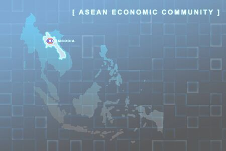 Modern map of South East Asia countries that will be member of AEC with Laos flag symbol in background Stock Photo - 16288279