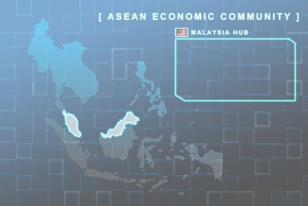 Modern map of South East Asia countries that will be member of AEC with Malaysia flag symbol in background Stock Photo - 16288385