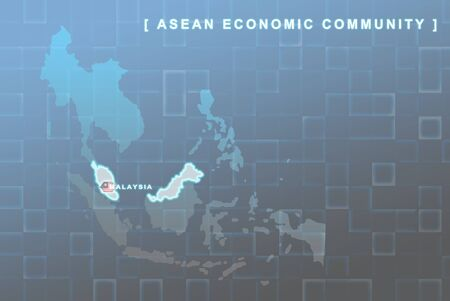 Modern map of South East Asia countries that will be member of AEC with Malaysia flag symbol in background Stock Photo - 16288294