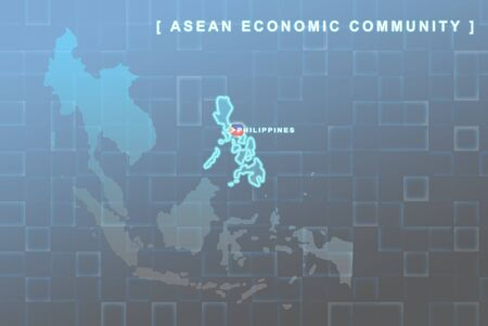 Modern map of South East Asia countries that will be member of AEC with Philippines flag symbol in background Stock Photo - 16288323