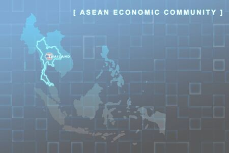 Modern map of South East Asia countries that will be member of AEC with Thailand flag symbol in background Stock Photo - 16288306