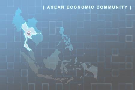 Carte moderne des pays du Sud-Est asiatique, qui sera membre de l'AEC avec symbole du drapeau Thaïlande en arrière-plan Banque d'images