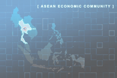 Modern map of South East Asia countries that will be member of AEC with Thailand flag symbol in background