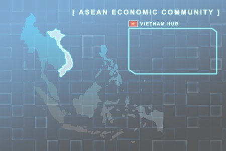 seaa: Modern map of South East Asia countries that will be member of AEC with Vietnam flag symbol in background