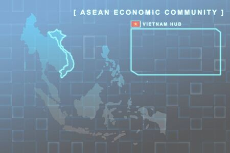 Modern map of South East Asia countries that will be member of AEC with Vietnam flag symbol in background Stock Photo - 16288334