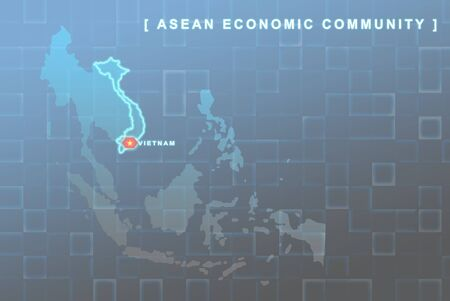 Modern map of South East Asia countries that will be member of AEC with Vietnam flag symbol in background Stock Photo - 16288296